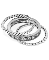 Genevieve And Grace Sterling Silver Ring Set Marcasite Stackable Rope Ring Set