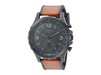 Fossil Q Nate Hybrid Smartwatch Ftw1114 Black Ip Tan Leather Watches Brown