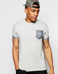 Firetrap Burnout Crew Neck T Shirt With Pocket And Roll Sleeves Grey