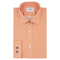 Duchamp Tiny Floral Print Tailored Fit Shirt Orange
