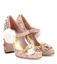 Dolce And Gabbana Embellished Patent Leather Pumps Pink