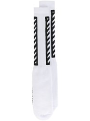 Off White Diagonal Stripe Socks White