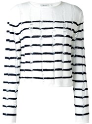 Alexander Wang T By Distressed Knit Striped Jumper Nude And Neutrals