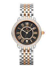Michele Serein 16 Diamond 18K Rose Gold And Stainless Steel Bracelet Watch Silver Rose Gold