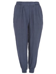 Samya Plus Size Chevron Print Trousers Blue