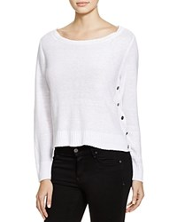 Eileen Fisher Side Button Linen Sweater White