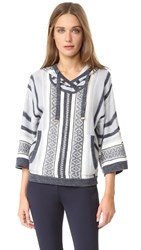 Veronica Beard Rancho Hooded Sweater Charcoal Blue Ivory