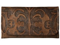 American West Baroque Trifold Wallet Distressed Charcoal Brown Wallet Handbags