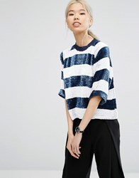 Asos White Stripe Sequin Top Navy White
