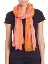 Tilo Bar Stroke Cotton And Modal Scarf Pink Blue