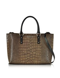 Armani Jeans Brown Faux Embossed Croco Leather Tote
