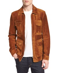 Tom Ford Cashmere Suede Zip Jacket Rust