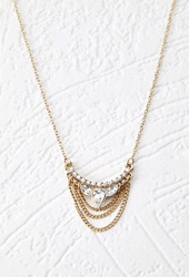 Forever 21 Rhinestone Chain Pendant Necklace Antic Gold Clear