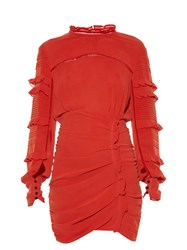 Isabel Marant Qods Ruched Stretch Silk Dress Red
