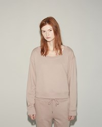 Alexander Wang Soft French Terry Cropped Sweatshirt Sandstone
