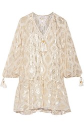 Rachel Zoe Tasseled Metallic Fil Coupe Silk Blend Mini Dress Ivory