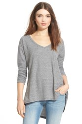 Sun And Shadow V Neck Thermal Swing Top Gray