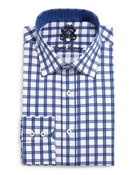 English Laundry Windowpane Check Woven Dress Shirt Navy