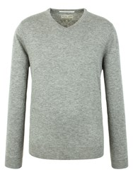 Racing Green Malton V Neck Merino Grey Marl