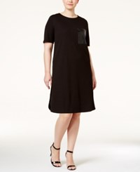 Soprano Plus Size Faux Leather Pocket Shift Dress Black