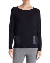 Lafayette 148 New York Wool Patch Pocket Pullover Sweater Navy