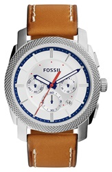 Fossil 'Machine' Chronograph Textured Bezel Watch 45Mm Brown Silver