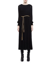 Saint Laurent Long Sleeve Pleated Midi Dress W Golden Trim Black