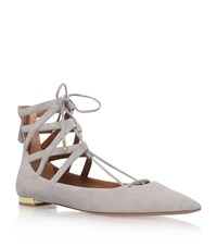 Aquazzura Belgravia Suede Flats Female Light Grey