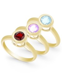 Victoria Townsend Multi Stone 3 Piece Ring Set In 18K Gold Over Sterling Silver 2 3 4 Ct. T.W. Yellow Gold