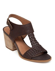 Lucky Brand Maari High Heel Leather Sandals Brown