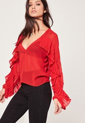 Missguided Pleated Frill V Neck Blouse Red Red