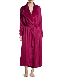 Donna Karan Laundered Satin And Faux Fur Robe Ruby Red Women's