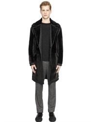 Wooyoungmi Shearling Panels On Wool Donegal Coat