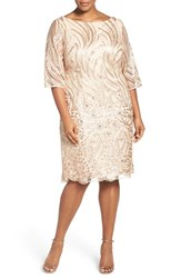 Brianna Plus Size Women's Sequin Embroidered Lace Shift Dress