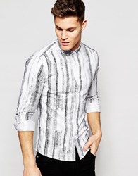 Asos Skinny Oxford Shirt With Shaded Print In Long Sleeve White Black