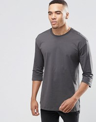 Jack And Jones 3 4 Sleeve T Shirt Raven Black