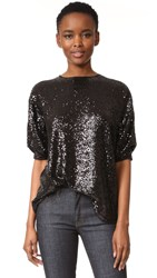 Victoria Beckham Sequin Tucked Sleeve Top Black