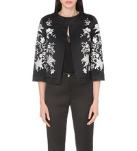 Ted Baker Embroidered Cotton Blend Jacket Black