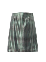 Marc Jacobs Micro Plaid Silk Lame Pencil Skirt