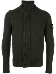 Stone Island Ribbed Button Down Cardigan Green