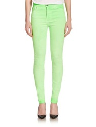 Giambattista Valli For 7 For All Mankind Neon High Rise Skinny Jeans Green Flash