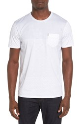 Ben Sherman Men's Block Print Pocket Crewneck T Shirt Bright White