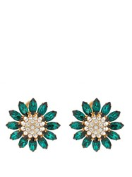 Miu Miu Flower Crystal Embellished Earrings Green Multi