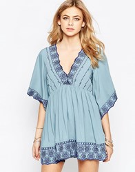 Hazel Embroidered V Neck Dress Denim Blue