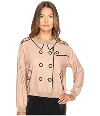 Boutique Moschino Crepe Button Blouse Champagne Women's Blouse Gold