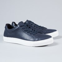 Selected Navy Leather Dylan Trainers
