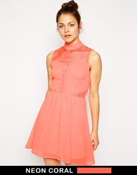 Ax Paris Skater Dress With Mesh Insert Coralpink