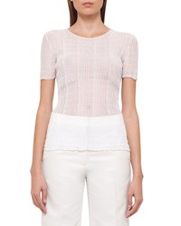 Akris Short Sleeve Ribbed Top Anemone Size 18