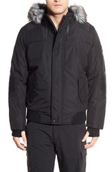 Men's Point Zero Hooded Bomber Jacket With Faux Fur Trim Black