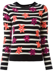 Chinti And Parker Striped Floral Intarsia Jumper Blue